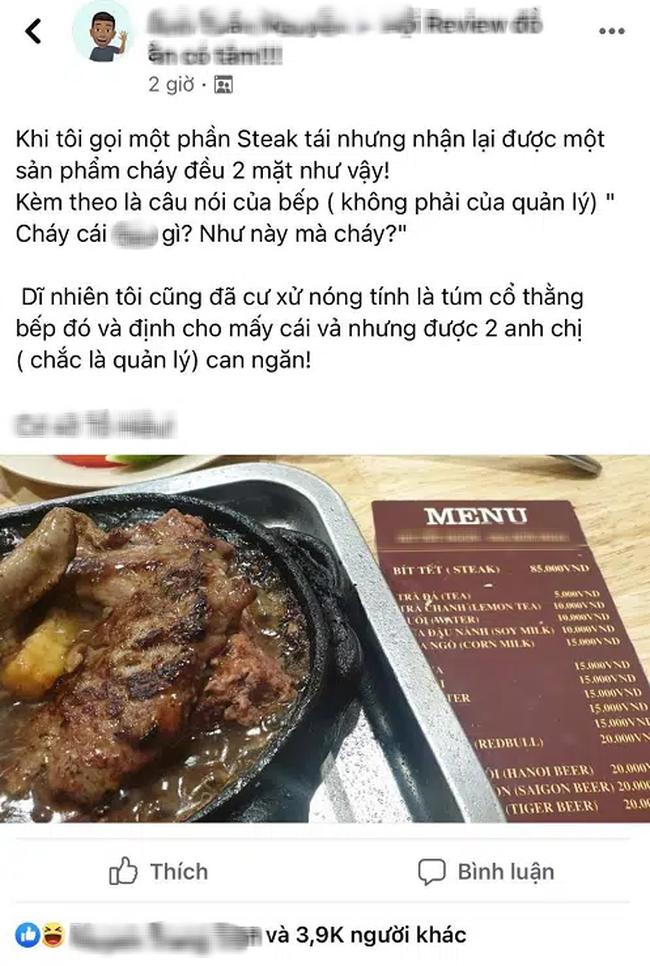 """Gọi 1 phần steak tái nhưng đầu bếp mang ra phần cháy đều 2 mặt, khách phàn nàn liền bị chửi """"vuốt mặt không kịp"""""""