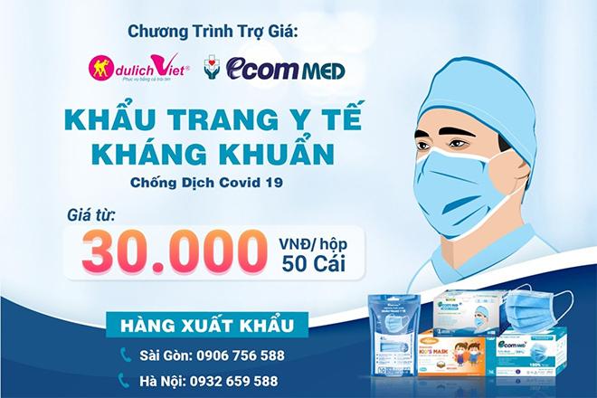 Du Lịch Việt & Ecom Med trợ giá khẩu trang y tế phòng dịch chỉ từ 30.000 đồng/ hộp