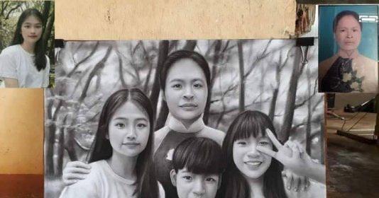 Nhờ họa sĩ ghép ảnh mẹ quá cố để tạo nên bức ảnh gia đình, sản phẩm sau đó gây xúc động mạnh