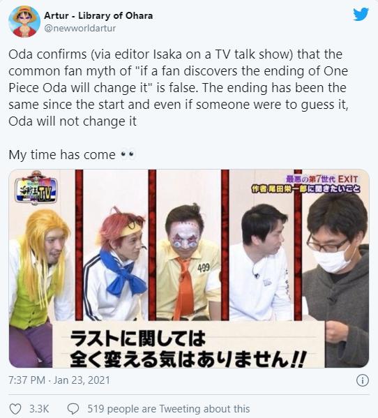 Oda đảm bảo rằng cái kết của One Piece sẽ được sửa chữa nhưng không bị thay đổi