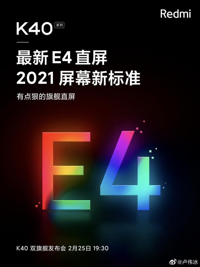 """Redmi K40 sẽ sử dụng màn hình OLED """"xịn"""" như Xiaomi Mi 11 và Galaxy S21 Ultra"""