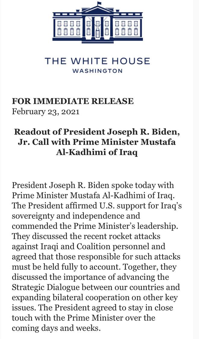 """Ông Biden điện đàm nóng với Thủ tướng Iraq: Tuyên bố """"trừng trị thích đáng"""" một số đối tượng"""