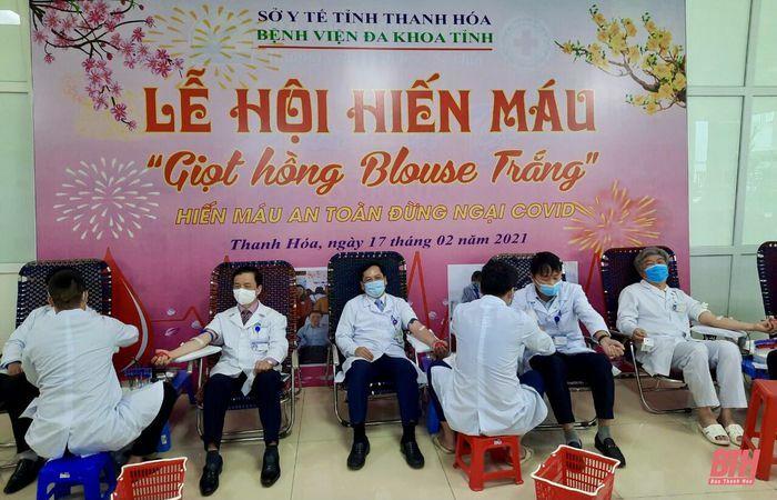 """Lễ hội hiến máu """"Giọt hồng Blouse trắng"""" tại Bệnh viện Đa khoa tỉnh Thanh Hóa"""