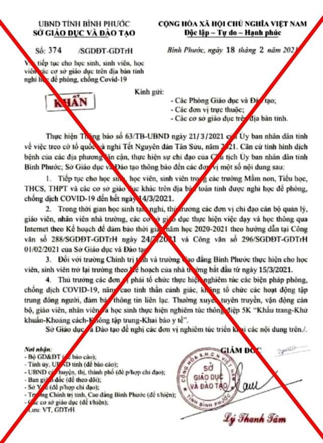 Bị xử phạt vì đăng công văn giả mạo cho học sinh nghỉ học đến giữa tháng 3