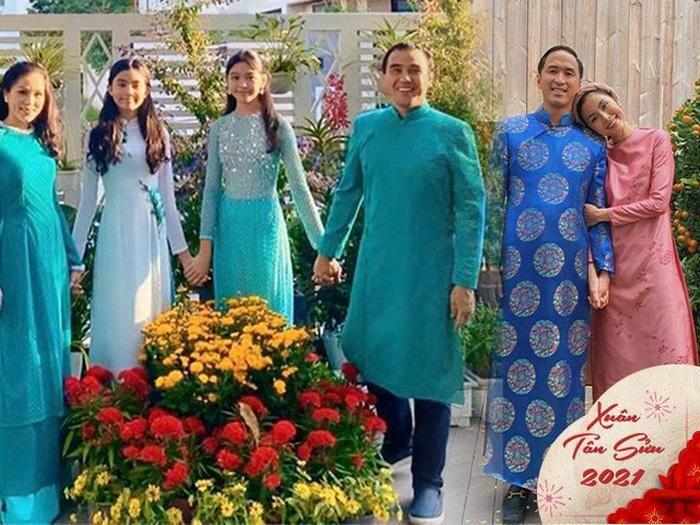 Gia đình hot nhất Vbiz chọn đồ du Xuân là áo dài: nhà Quyền Linh, Hà Tăng đẹp xuất sắc