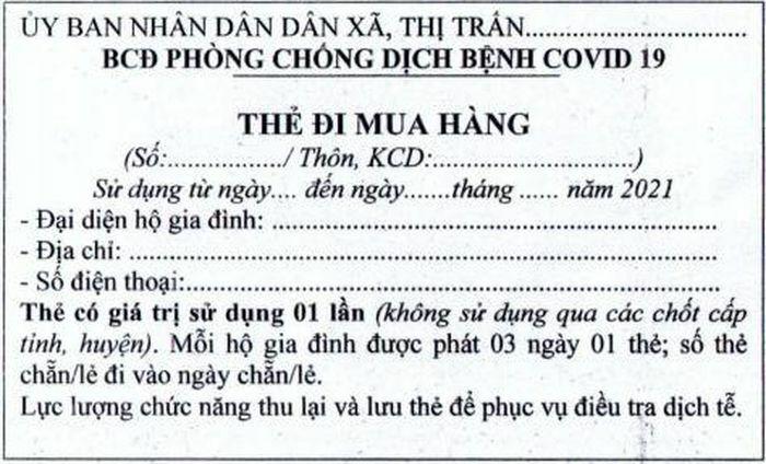 Hải Dương: Huyện Cẩm Giàng cấp thẻ ra đồng, thẻ mua hàng cho người dân