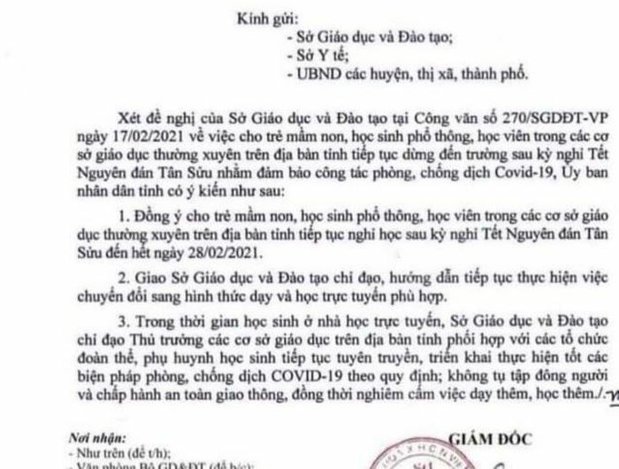 Văn bản thông báo học sinh ở Đắk Lắk nghỉ đến hết tháng 2 là giả mạo