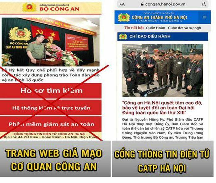 Công an Hà Nội khuyến cáo người dân không truy cập vào trang điện tử giả mạo