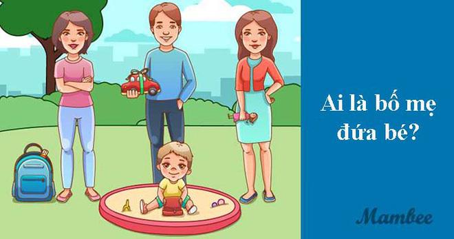 5 giây xem tranh và giải câu đố yêu cầu tư duy logic: Trong 3 người lớn, ai là bố mẹ đứa bé?