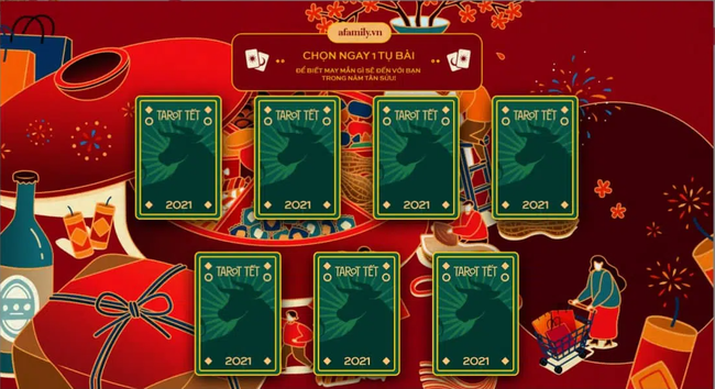 Đêm Giao thừa lên aFamily.vn chọn 1 tụ bài Tarot Tết để biết may mắn gì sẽ đến trong năm Tân Sửu!
