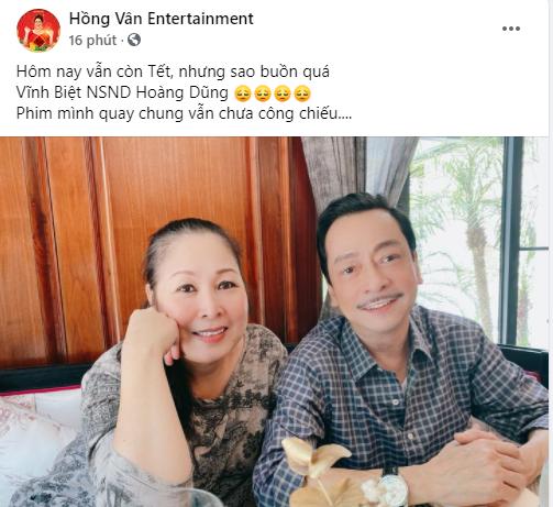 NSND Hồng Vân và dàn nghệ sĩ Việt bàng hoàng trước tin NSND Hoàng Dũng qua đời