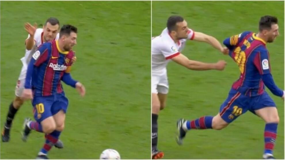 Pha chộp áo Messi thất bại của sao Sevilla gây sốt