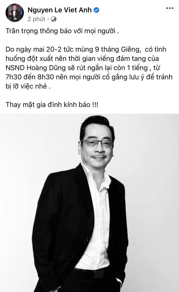 Việt Anh thông báo thay đổi thời gian viếng NSND Hoàng Dũng, NS Hoài Linh gửi lời tiễn biệt gây xúc động