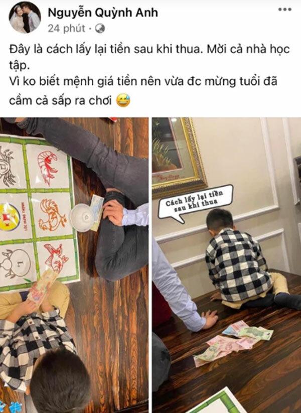 Bà xã Đỗ Duy Mạnh gây tranh cãi khi khoe ảnh chơi 'bầu cua tôm cá'