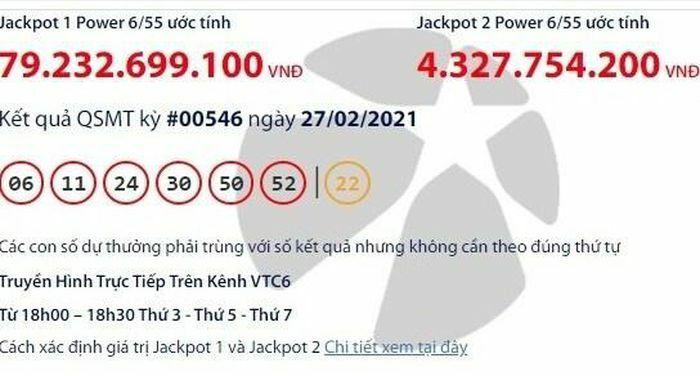 Kết quả xổ số Vietlott 27/2: Tìm người trúng giải khủng gần 80 tỷ đồng
