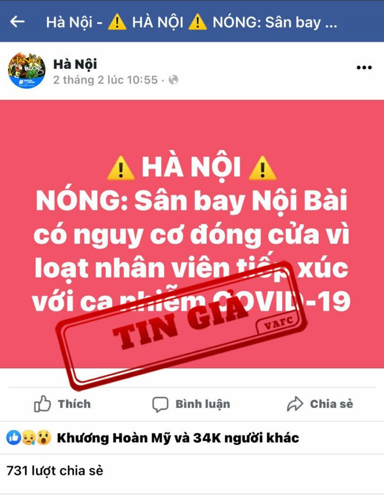 CẢNH BÁO: 'Nguy cơ đóng cửa Sân bay Nội Bài' là thông tin không chính xác