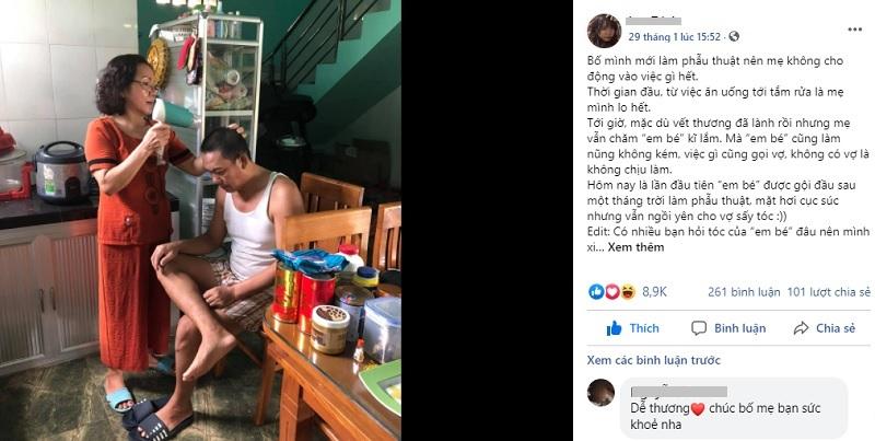 Bức hình người đàn ông U55 'làm nũng' để vợ gội đầu, sấy tóc sau khi phẫu thuật đốn tim dân mạng