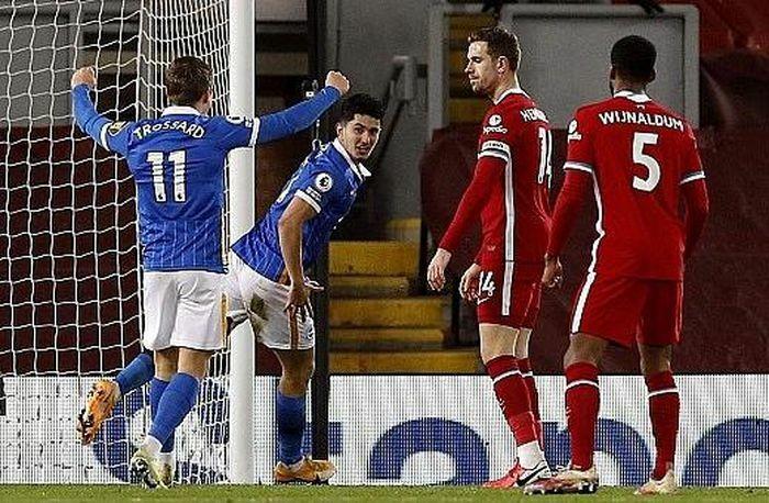 """Thất bại trước Brighton, Liverpool """"hụt hơi"""" trong cuộc đua vô địch"""
