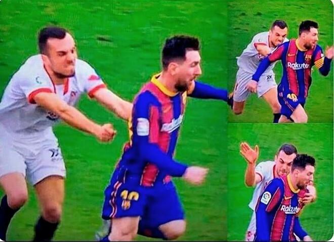 Cầu thủ Sevilla truy cản thô thiển cũng không ngăn nổi Messi