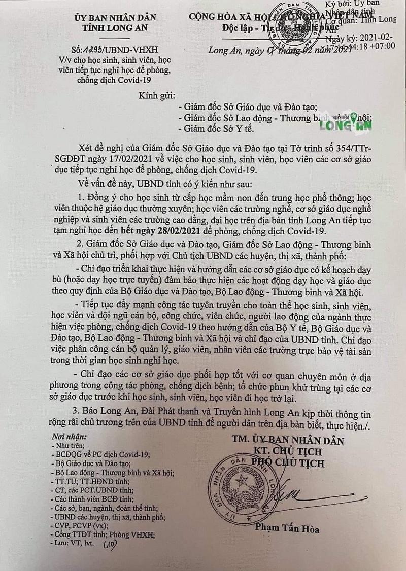 Sau Đồng Nai, Long An tiếp tục thông báo cho học sinh nghỉ học đến hết 28/2