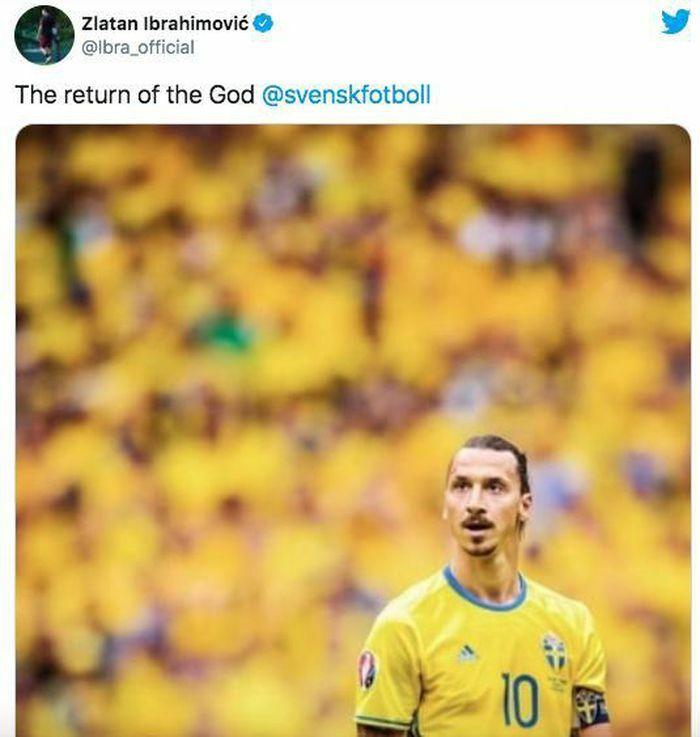 Ibrahimovic trở lại khoác áo tuyển Thụy Điển sau 5 năm vắng bóng