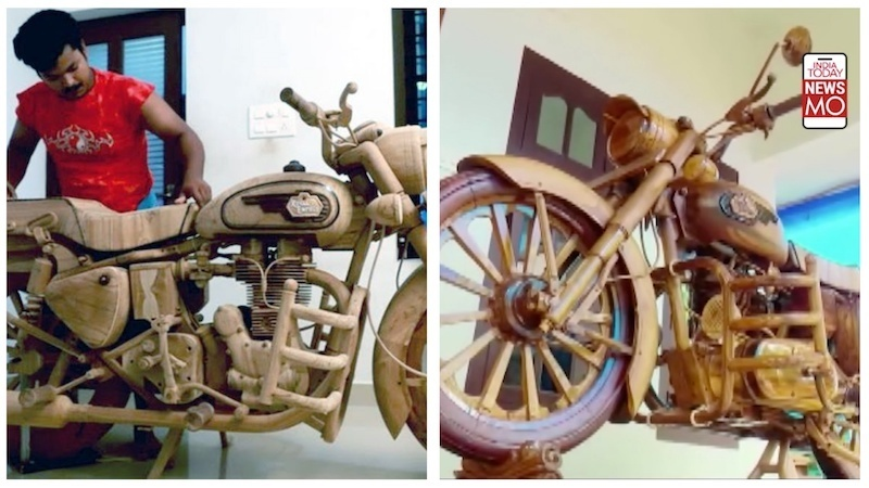Thợ điện chế mô tô Royal Enfield Bullet bằng gỗ như thật