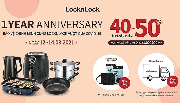 Giảm giá sốc tới 50% mừng kỷ niệm 1 năm LOCK&LOCK online