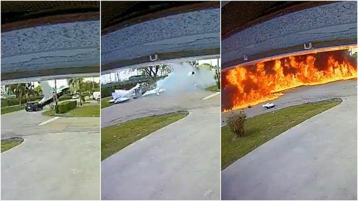 Kinh hoàng máy bay đâm vào xe hơi, nổ thành quả cầu lửa