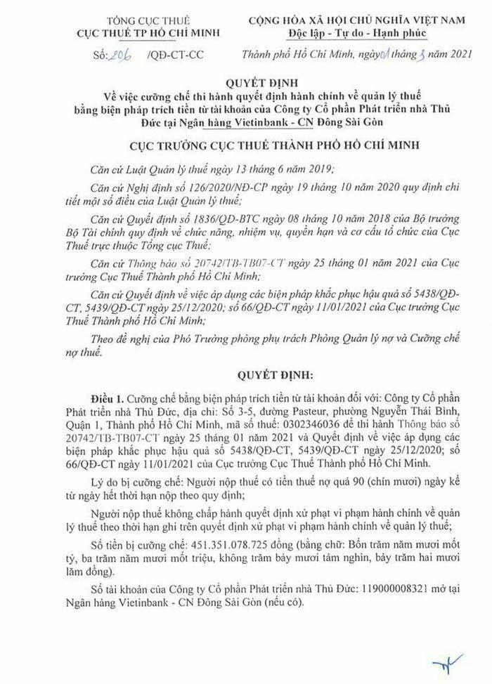 Thuduc House nói gì khi Cục Thuế TP HCM ra quyết định cưỡng chế thuế?