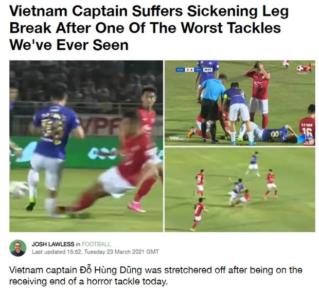 """Báo chí nước ngoài """"ớn lạnh"""" trước tình huống gây ra chấn thương của Đỗ Hùng Dũng, lo ngại cho tương lai của Đội tuyển Việt Nam"""
