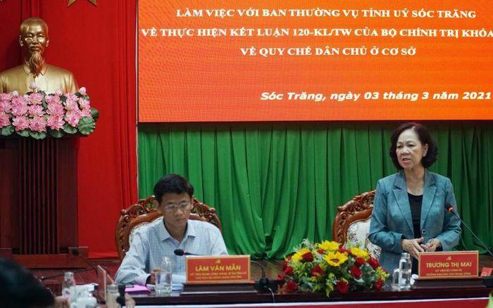 Đồng chí Trương Thị Mai thăm và làm việc tại Sóc Trăng