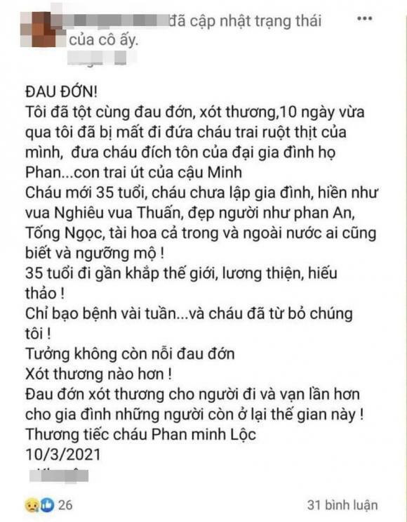 Người thân tiết lộ 'phù thủy' trang điểm Minh Lộc mất vì bạo bệnh, qua đời 10 ngày trước