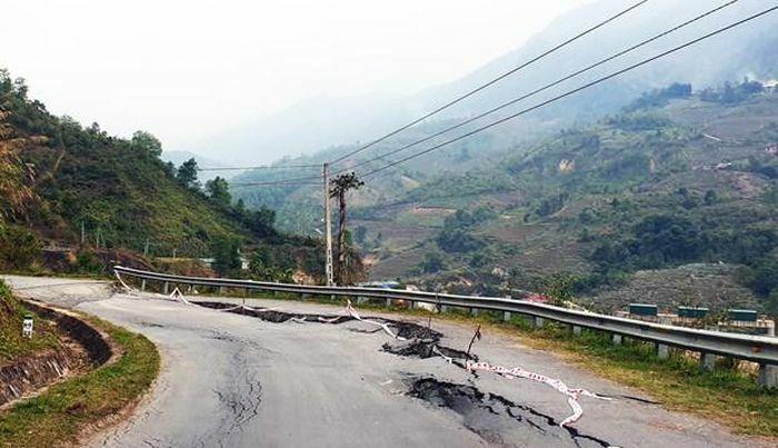 Lào Cai: Sụt lún nghiêm trọng trên Tỉnh lộ 152 thuộc thị xã Sa Pa
