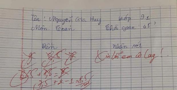 Chấm nhầm điểm 7 lần, cô giáo Toán phê ngay 5 chữ cực đáng yêu khiến học trò đọc xong hết giận