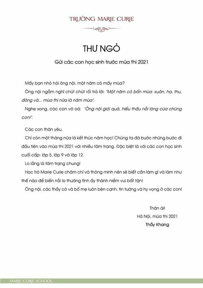 Thầy hiệu trưởng có bức thư gửi học sinh trước mùa thi gây xúc động