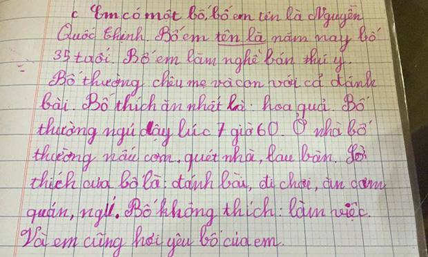 Bài văn tả bố của học sinh tiểu học: 10 câu thì 9 câu nói xấu, câu chốt cuối nghe mà não hết lòng