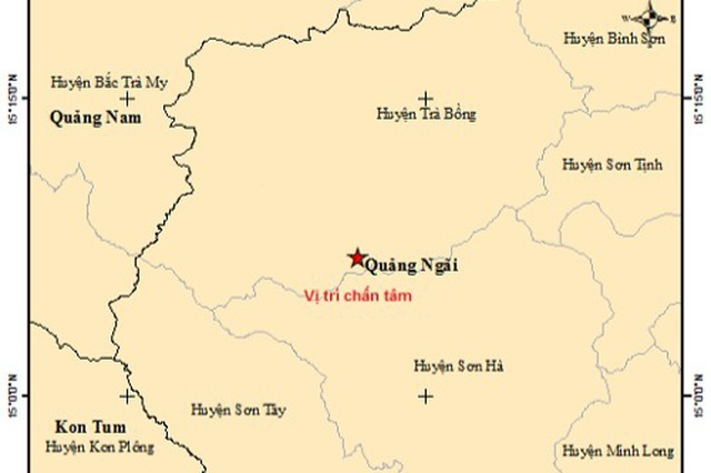 Liên tiếp xảy ra động đất ở Quảng Ngãi