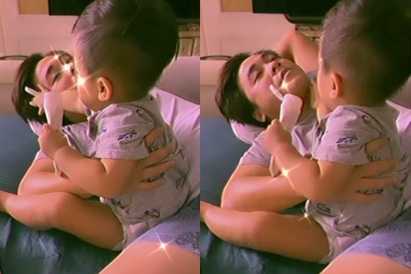 Cưng xỉu khoảnh khắc con trai Hòa Minzy thoa kem dưỡng da cho bố