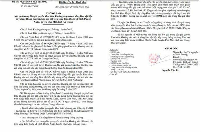 """45 vòng đấu giá """"ớn lạnh"""" giành quyền khai thác mỏ cát 2.811 tỷ đồng ở An Giang"""