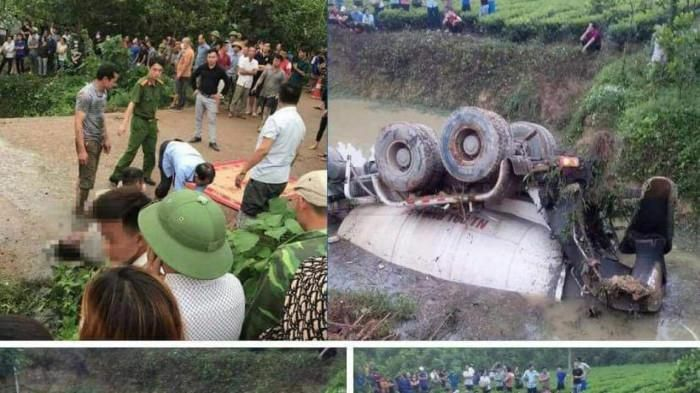 Tai nạn ở Thái Nguyên: Xe bồn lật ngửa dưới ao, tài xế tử vong