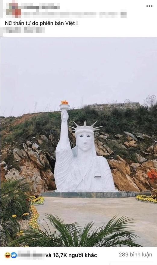Tượng Nữ thần tự do phiên bản Việt khiến dân mạng cười nghiêng ngả