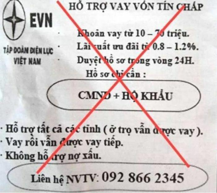 EVN bị giả mạo, lợi dụng thương hiệu để dụ cho vay tín chấp