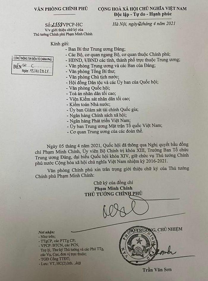 Giới thiệu chữ ký của Thủ tướng