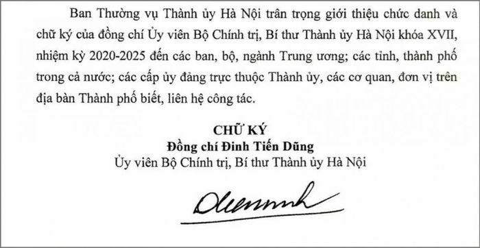 Thành ủy Hà Nội giới thiệu chữ ký của tân Bí thư Đinh Tiến Dũng