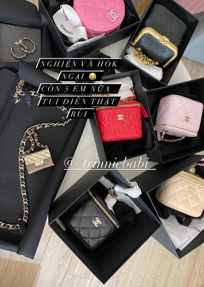 """Rich kid Trinh Hoàng mua cả lố túi Chanel như gom hàng """"trăm rưỡi, trăm bảy"""" trên mạng"""