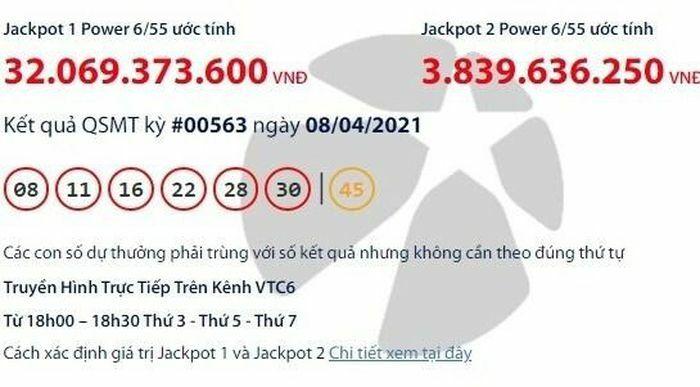 Kết quả xổ số Vietlott 8/4: Tìm chủ nhân giải khủng hơn 33 tỷ đồng