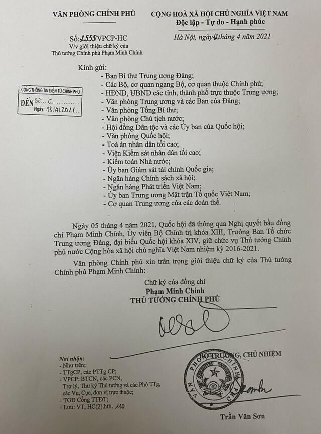 Giới thiệu chữ ký Thủ tướng Phạm Minh Chính, 2 Phó Thủ tướng và Chủ nhiệm VPCP Trần Văn Sơn