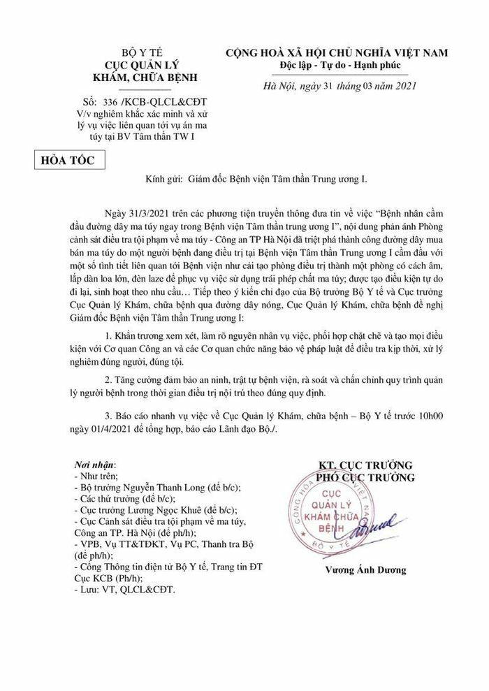 Về vụ việc bệnh nhân cầm đầu đường dây ma túy tại BV Tâm thần TW 1: Bộ Y tế gửi văn bản khẩn