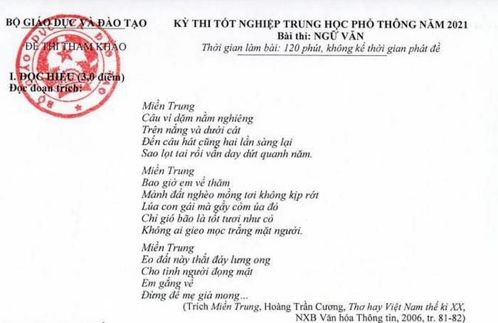Có đoạn trích trong bài thơ Miền Trung, đề Ngữ văn mang tính giáo dục cao