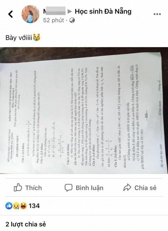 Công an vào cuộc vụ lộ đề kiểm tra môn Toán ở Đà Nẵng